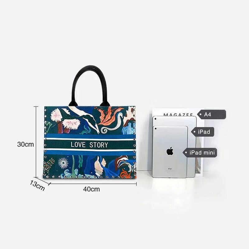 baratas zapatos casuales calidad 2019 el nuevo bolso de mujer nacional viento impreso lona bolso Casual  Playa Mujeres cremallera bolsa de compras Bolsos De Mujer bolsos