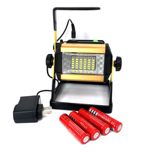 LED FloodLight 50W Reflector Led Flood Light Spotlight Waterproof Outdoor Lamp Projectors + 4×18650 Battery & Charger