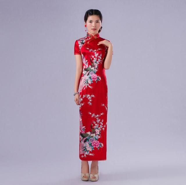 Summer Stylish Red Women Silk Rayon Qipao Mandarin Collar Long Cheongsam Chinese Style Dress Flower Size S M L XL XXL NC017