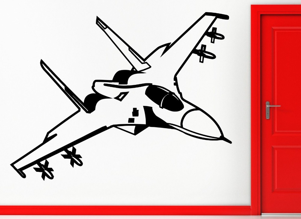 Fighting Jet Air Force Airplane Decor Wall Stickers Vinyl Decal