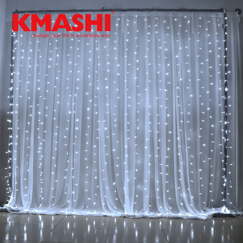 White 6* 3M 600LED Fairy Curtain Lights Wall Wedding Bedroom Home Outdoor Curtain Male Female Connector IP65 memory controller