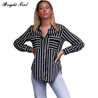 BRIGHT GIRL Women Casual Blouses Cheap Clothes China Striped Shirts Tops Woman Office Wear Loose Blusas Female Black Blouse