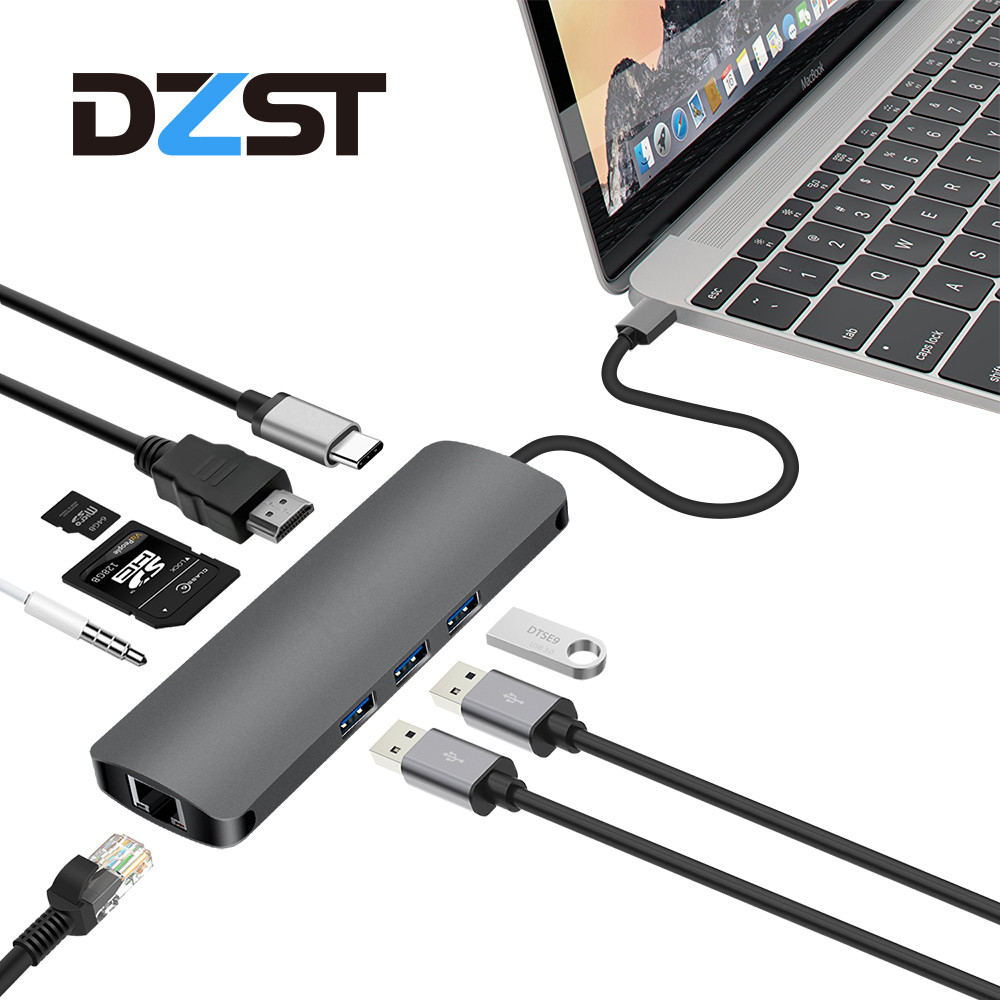 DZLST USB Hub Splitter 9 in 1 to HDMI RJ45 Gigabit Ethernet Type C PD Charging