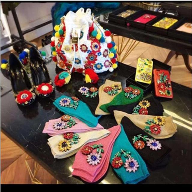 New Arrived Korean Style Fashion Glitter Socks Women Spring gem Flower Gem Candy Color Hand-made Socks