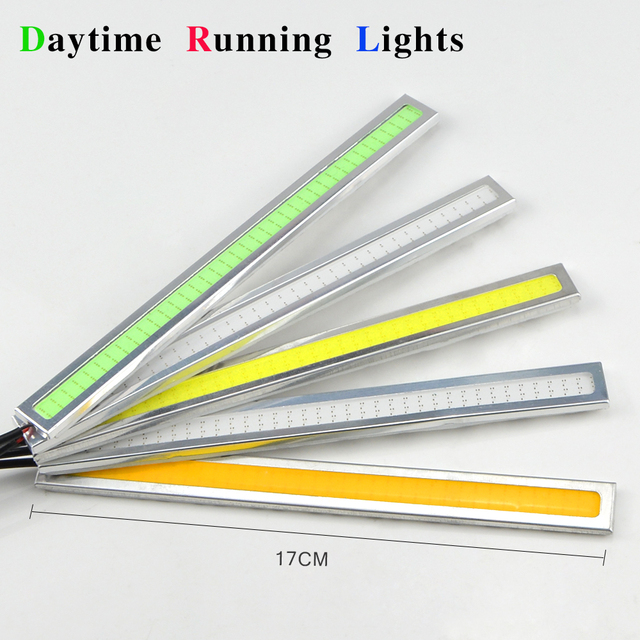 1Pcs Aluminum Silver 17cm LED Daytime Running lights Waterproof COB Daylight Car Auto Bar Bulb Source DRL Driving Fog lamp