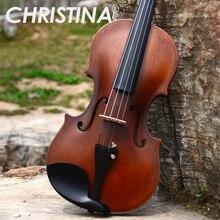 Итальянская Кристина V01, скрипка для начинающих, старинный клен, скрипка, 4/4 3/4, ручной работы, музыкальный инструмент и чехол, бант, канифоль