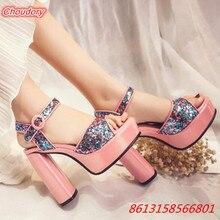 2017 Bling Square Heels Women Sandals High Heels Ankle Buckle Strap Open Toe Shoes Women Platform Ankle Wrap Women Casual Shoes