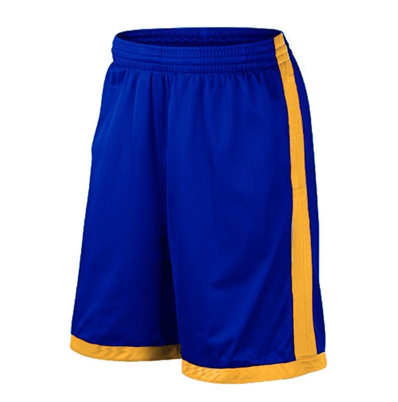 Баскетбольные шорты размера плюс, мужские спортивные шорты, мужские быстросохнущие баскетбольные шорты с карманами, баскетбольная майка высокого качества - Цвет: Blue yellow