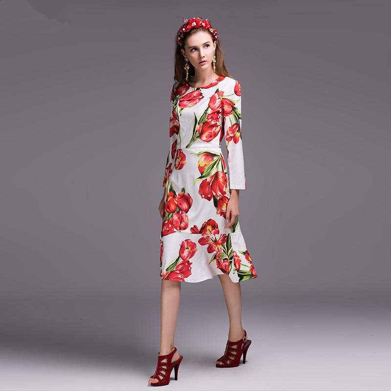 Nouveau longueur Mince Printemps Femmes Tulipe Élégant Robe Sirène Longues Impression 2017 Genou Qualité De Mode Haute À Manches n1XfaAq