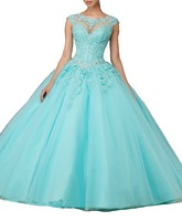 Cheap Cap Sleeve Mint Green Quinceanera Dresses Red Ball Gown Sweet 16 Dresses Princess 15 Years