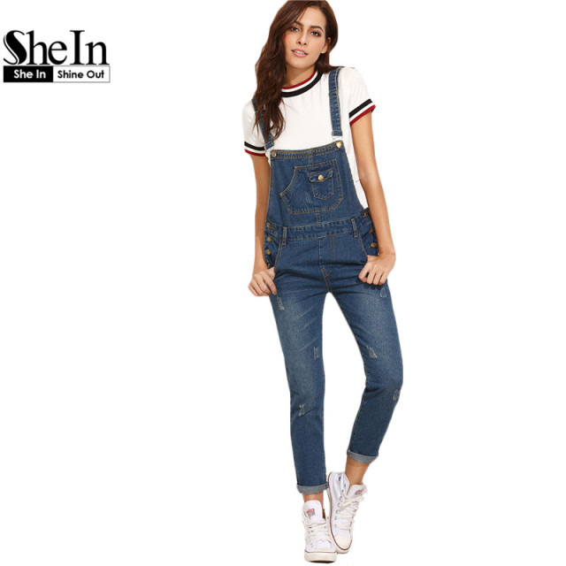 26b40eb53a SheIn Women Rompers and Jumpsuits for Autumn Ladies Casual Sleeveless Dark  Blue Straps Scratch Denim Overall