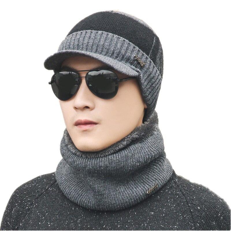 Warm 2 Pieces Set Winter Plus Velvet Hats Scarf For Women Men Thick Cotton Winter Accessories Set Female Male Beanie Scarf Sets