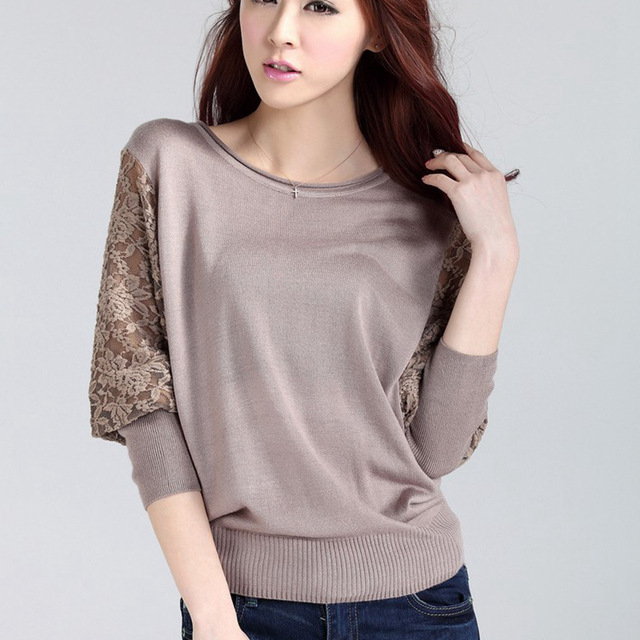 2017 New Autumn Sweater Women Elegant Batwing Lace Hollow Sleeve Sweater and tops pullover Design Crew Neck Loose Casual Sweater