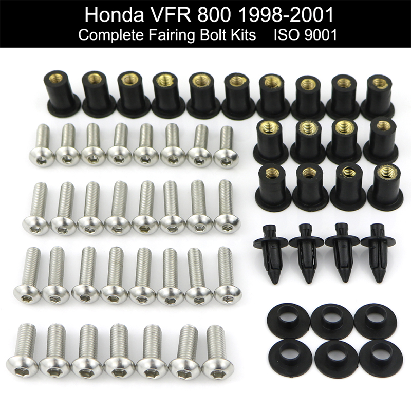 For Honda VFR800 1998-2001 Motorcycle Complete Full Fairing Bolts Kit Stainless Steel Fairing Clips Nuts