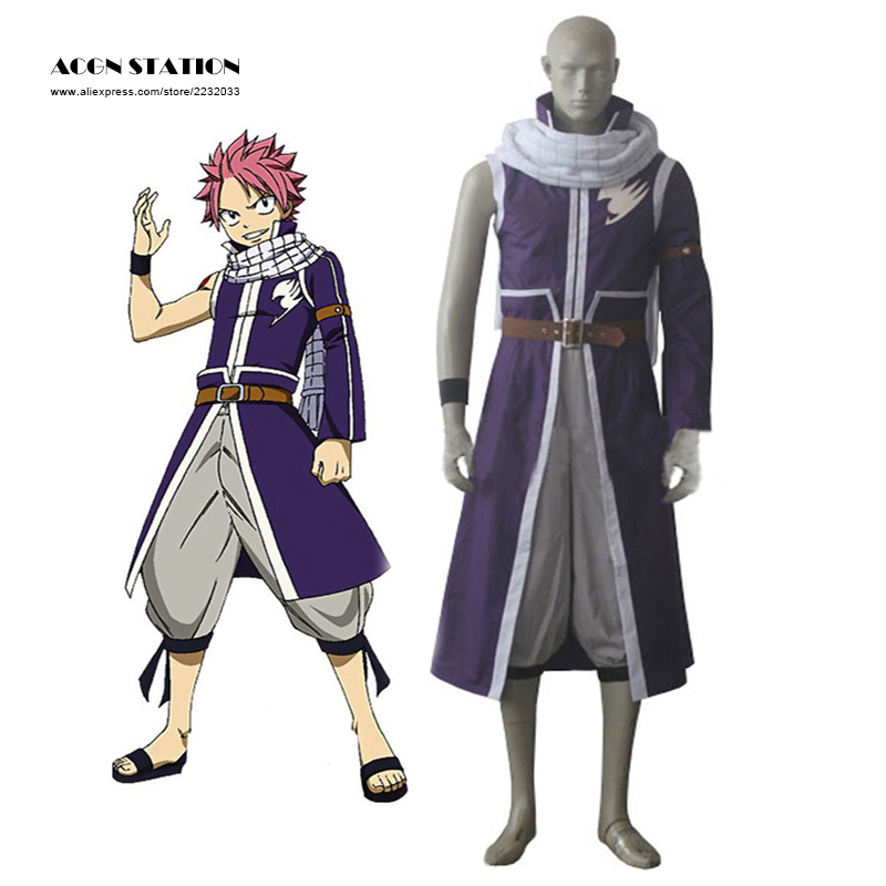 2016 Free Shipping New Fairy Tail Natsu Dragneel Halloween Cosplay Costume Purple Tail Coat