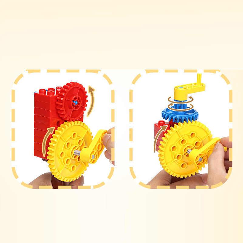 Compatibel legoinglys duploed vroege onderwijs power mechanische gear bouwstenen leermiddelen Verscheidenheid DIY creative Gift
