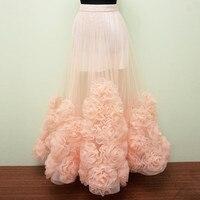 High Quality Peach Flower Handmade Sheer Long Skirts For Women Custom Made Flower Handmade Zipper Style Lolita Skirt 2016