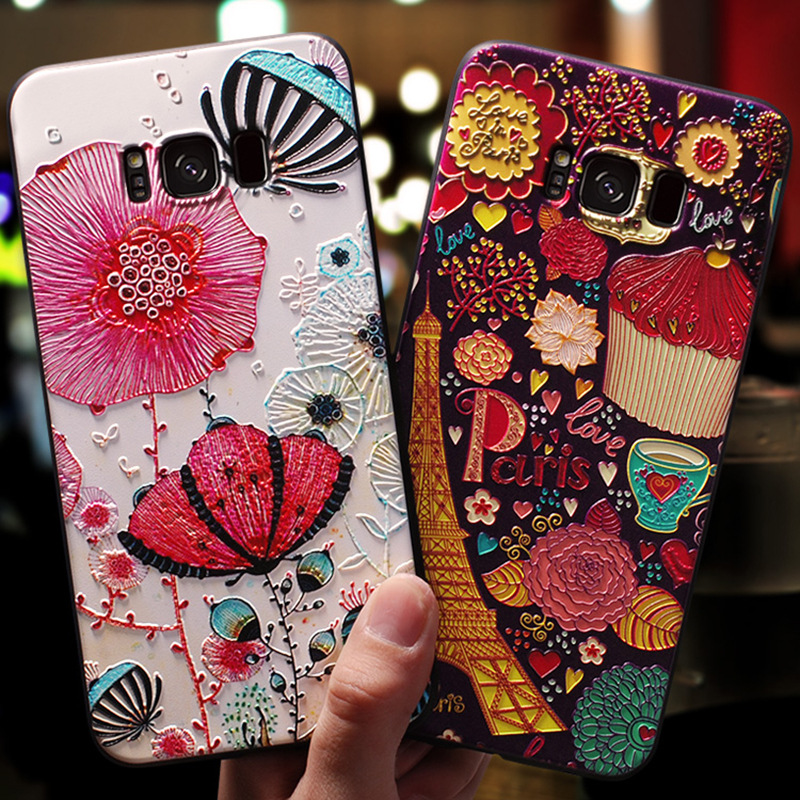3D Flower Emboss Case For Samsung Galaxy S10 Lite S6 S7 Edge S8 S9 Plus A9 A8 A6 Plus A7 2018 Star A3 A5 2017 2016 Case Soft TPU