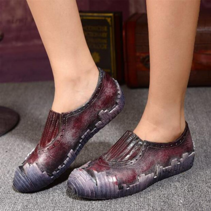Vintage handmade genuine leather women s shoes autumn shoes reminisced personality casual shoes women flats low