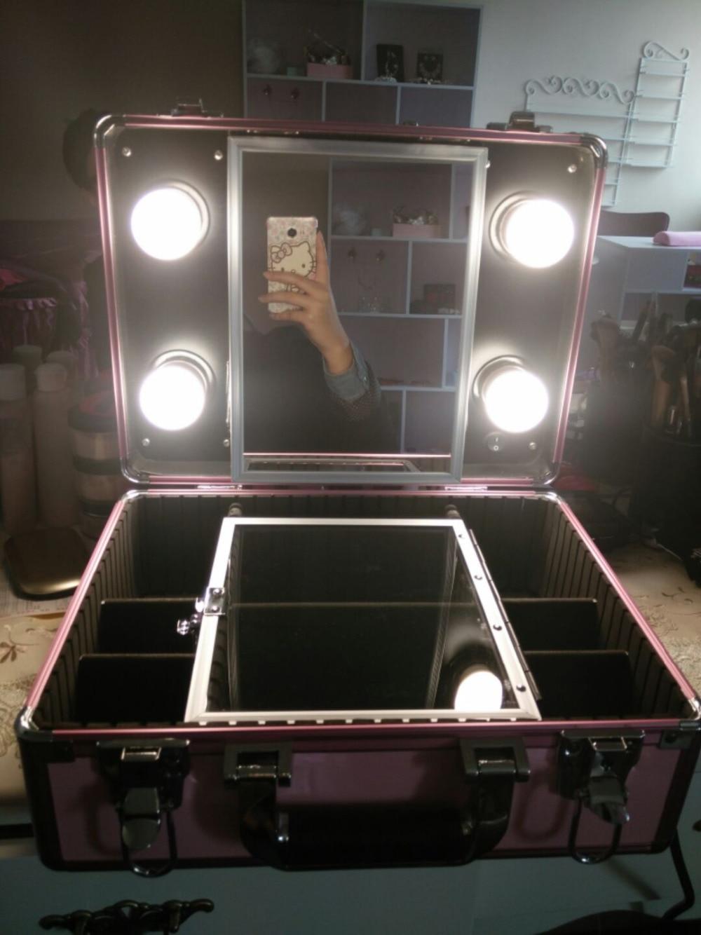 2016 New Type Make up Vanity Box Case with LED Lights Beauty Kit ...