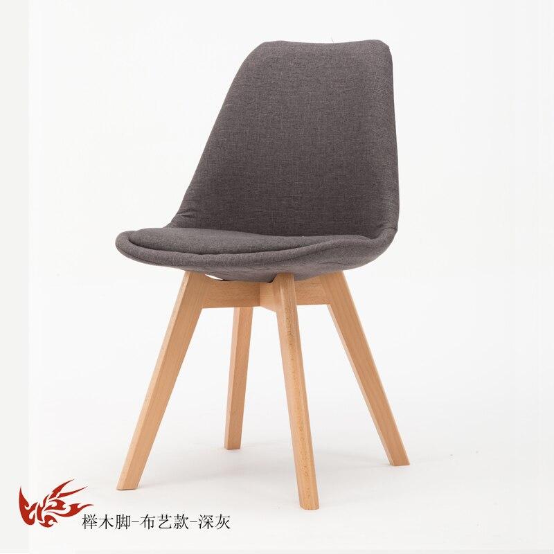 Простой стул Мода нордическая ткань; Массивная древесина обеденный стул кофе отель встречи, чтобы обсудить домашний табурет - Цвет: 2