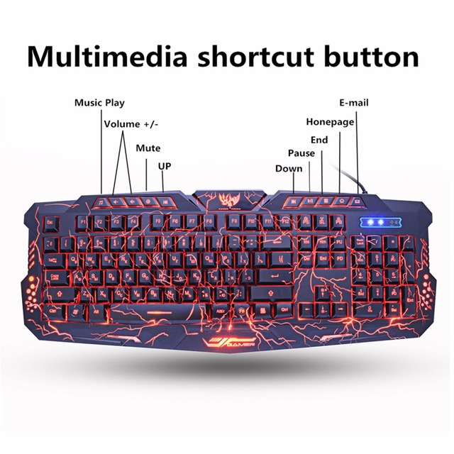 M200 Purple/Blue/Red LED Breathing Backlight Pro Gaming Keyboard Mouse Combos USB Wired Full Key Professional Mouse Keyboard 4