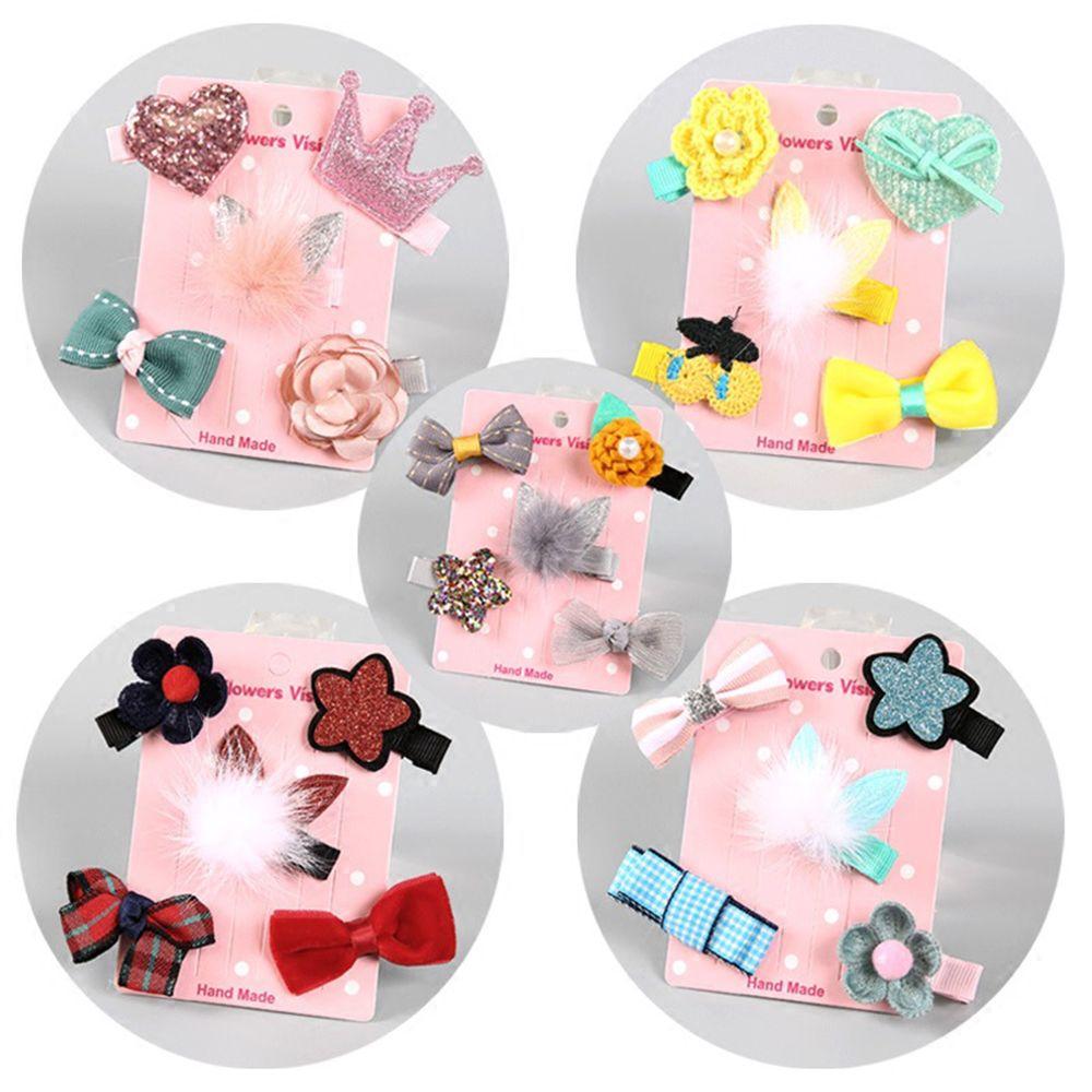 1 Set =5PCS Girls Flowers Hair Clips Cartoon Hairpins Toddlers Kids Children Animal Bow SAFE Barrettes Hair Accessories Headwear