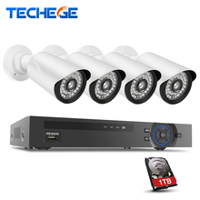 Techege 1280×960 p 1.3mp poe ip-камера p2p видеонаблюдения система 4ch 1080 P poe nvr комплект системы автономный камера система видеонаблюдения