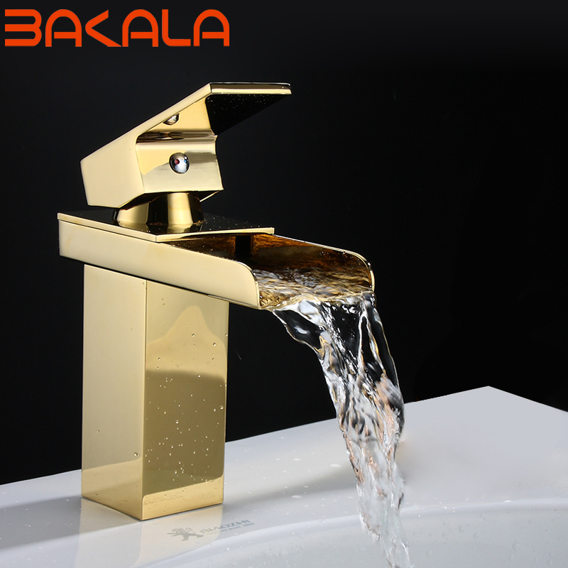 Livraison gratuite de luxe Europe style or cuivre salle de bain cascade bassin robinet mitigeur eau froide et chaude robinets