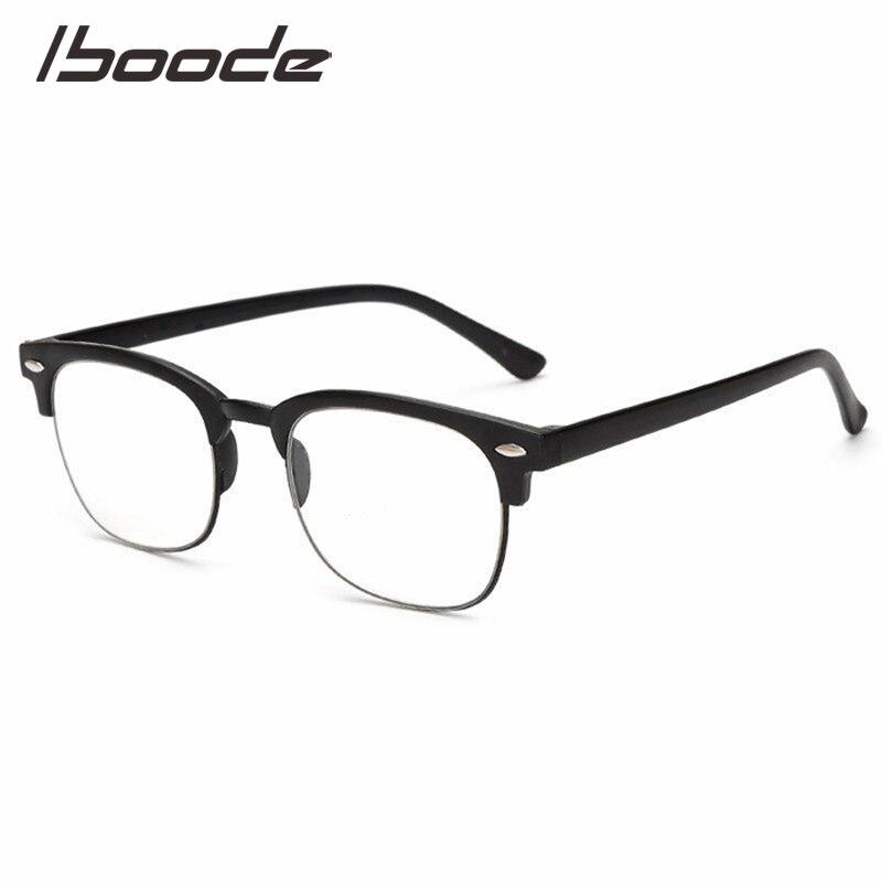 IBOODE TR90 Square Half Frame Reading Glasses Women Men Semi Rimless Presbyopic Eyeglasses Female Male Hyperopia Eyewear