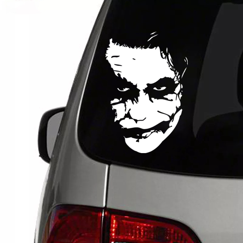 CK2046#15*22cm Joker Face Funny Car Sticker Vinyl Decal Silver Car Auto Stickers For Car Bumper Window Car Decorations