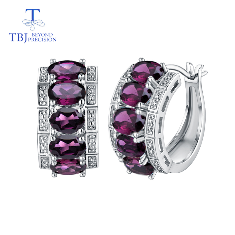 TBJ Clasp earring with natural rhodolite earring 925 sterling silver fine jewelry elegant design for women