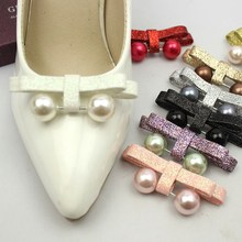 1 Piece PU Scrubs Pearl Bowknot Shoe Decoration Shinning Women Shoe Clip Decorative Accessories High Heel Bowtie Clamp Fitting