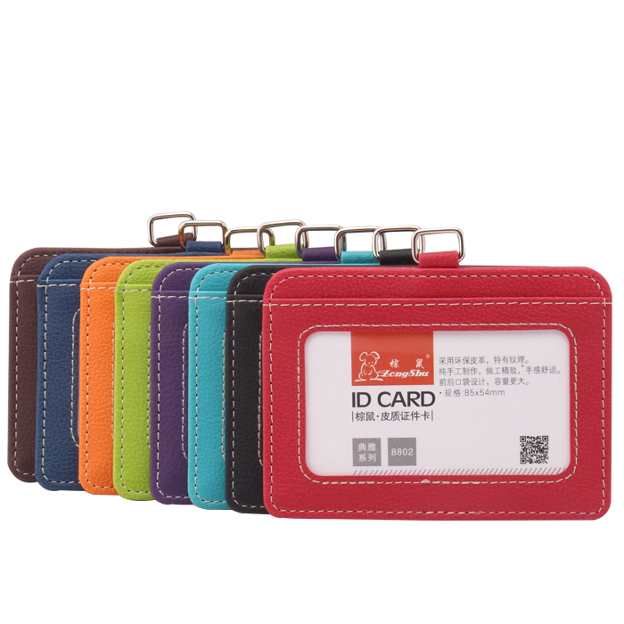 Zongshu New transparent design custom visiting neck name id card carrier cover case pu leather business card holder wallet