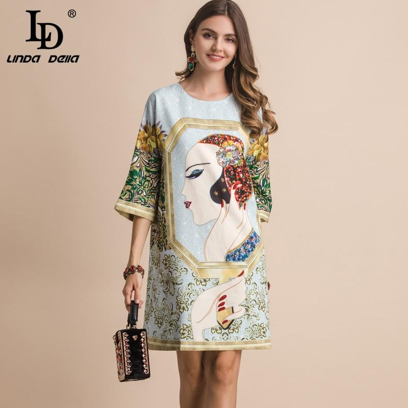 LD LINDA DELLA Fashion Runway Spring Summer Dress Women s Half Sleeve Gorgeous Crystal Character Printed