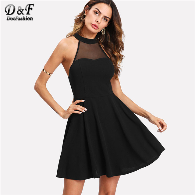 082f78be7df2 Dotfashion Mesh Yoke Open Back Skater Dress 2019 Female Black A Line Button  Short Dress Halter Sleeveless Fit And Flare Dress