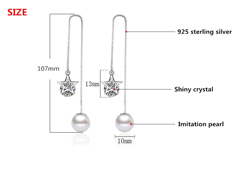 100 925 sterling silver shiny crystal star imitation pearl ladies long stud earrings jewelry women female wholesale dropship in Stud Earrings from Jewelry Accessories