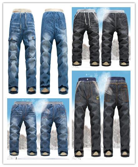 New kk-conejo de los niños calientes del invierno vaqueros de los bebés de camoFleece jeans gruesa caliente vaqueros de los niños para chica pantalones de los cabritos