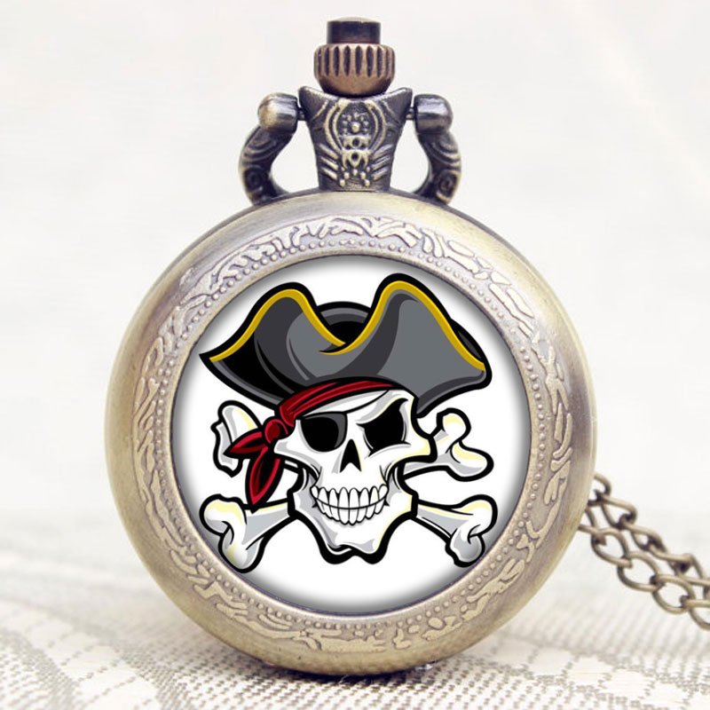 Antique Pirate Skull Bronze Pocket Fob Watch With Chain Necklace Free Postage Christmas New Year Birthday Gift