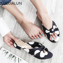 2019 New Brand Women Flat Slippers Fashion Wave Point Bow-knot Casual Slides Ladies Slip On Flip Flop Beach Sandal