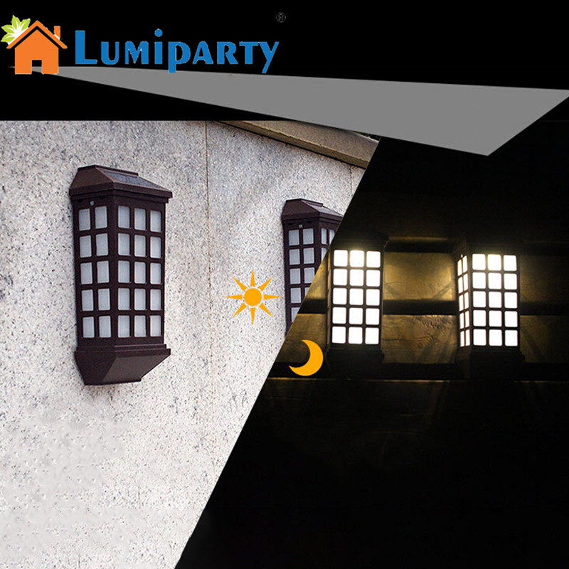 LumiParty 2PCS Waterproof Solar Lamp Outdoor Long Solar-Powered Wall Lamp Yard Garden Fence Stair Street Wall Light Decoration