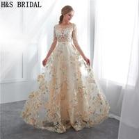 H & S свадебные O шеи сексуальное вечернее платье три четверти кружевное вечернее платье халат de mariée платья для выпускного вечера шампанское