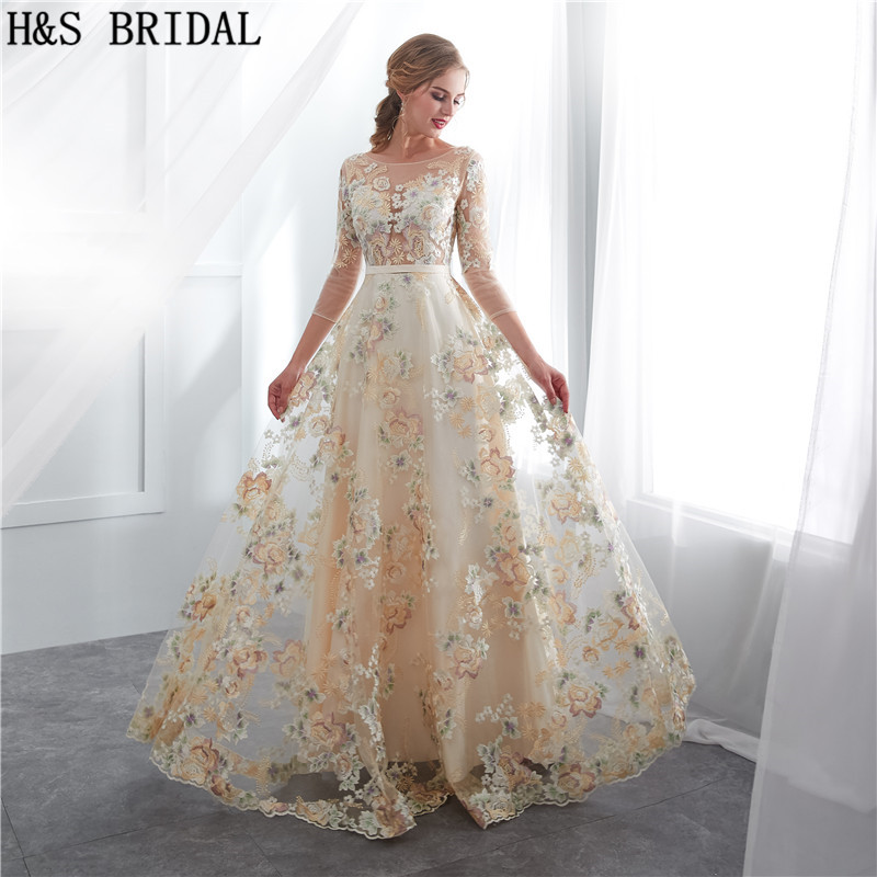 H&S BRIDAL O Neck Sexy   Evening     Dress   Three Quarter Sleeves Lace   Evening   Gown robe de mariee Prom   Dresses   Champagne formal   dress
