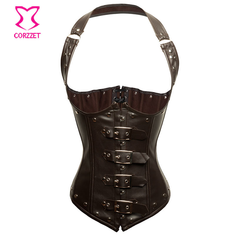 Corzzet Brown Leather Halter Steampunk Vest Corsets And Bustiers Waist slimming Steel Boned Gothic Underbust Corselet
