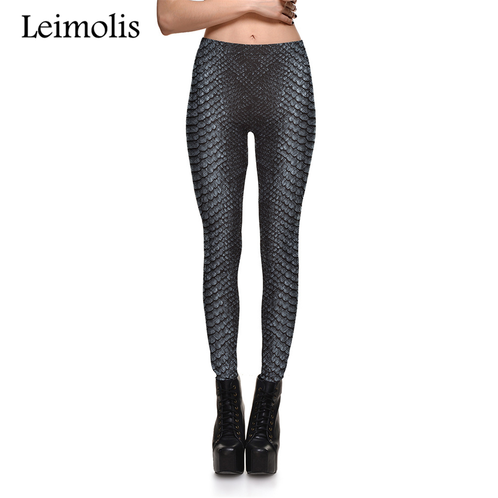 Leimolis 3D Printed Vintage Snake Scale Harajuku Gothic Sexy Plus Size High Waist Push Up Fitness Workout Leggings Women Pants