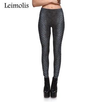 Leimolis 3D Printed Vintage Snake Scale Harajuku Gothic Sexy Plus Size High Waist Push Up Fitness Workout Leggings Women Pants
