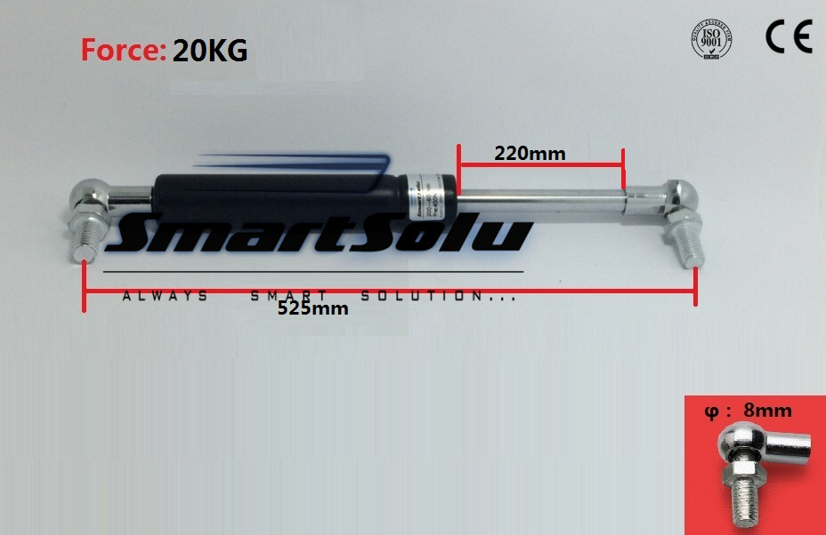 Free Shipping 525mm X 220mmX 20kg 21.3 Length 20kg 44 Lbs Force Metal Lift Strut Prop Auto Gas Spring free shipping car auto 50kg 110 lbs force ball studs lift strut metal gas spring 500mm 200mm