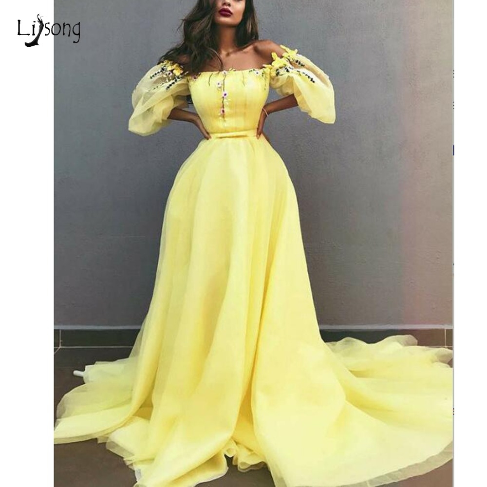 Pretty 2019 Lemon Yellow Floral Evening Dresses With Puffy Full Sleeves Fashion A-line Evening Gows Slash Neck Off Shoulder