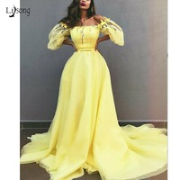 Pretty 2019 Lemon Yellow Floral Evening Dresses With Puffy Full Sleeves Fashion A line Evening Gows Slash Neck Off Shoulder