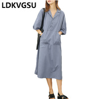 Straight Tube Female Short Sleeve Dress 2018 Summer New Loose Large Size Lapel Pocket Solid Color Women Casual Dress Is863